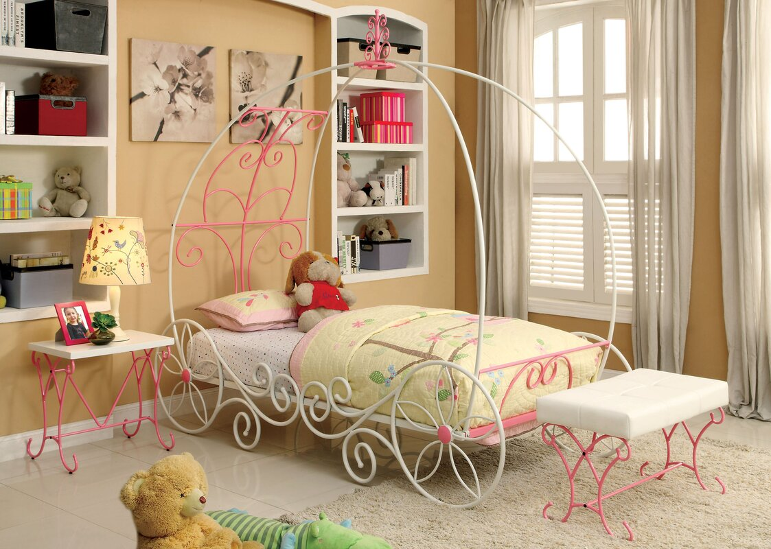 hokku designs fairy tale twin canopy bed reviews wayfair. Black Bedroom Furniture Sets. Home Design Ideas