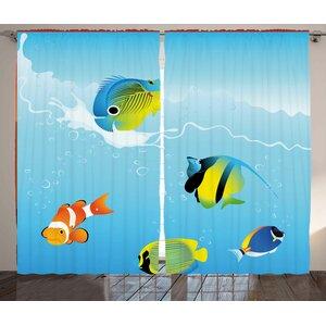 Deep Sealife Decor Wildlife Room Darkening Rod Pocket Curtain Panels (Set of 2)