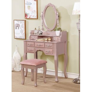 Rose Gold Makeup Vanity Set Wayfair