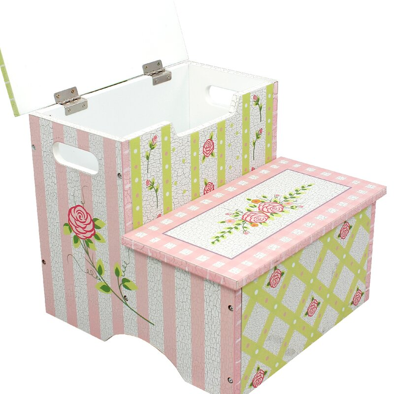 Fantasy Fields Crackled Rose Step Stool With Storage
