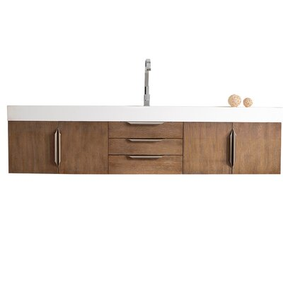 Brayden Studio Whitstran 73 Wall-Mounted Single Bathroom Vanity Set Base Finish: Latte Oak