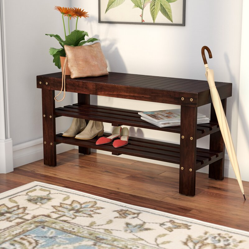 Andover Mills Theiss Wood Storage Bench & Reviews