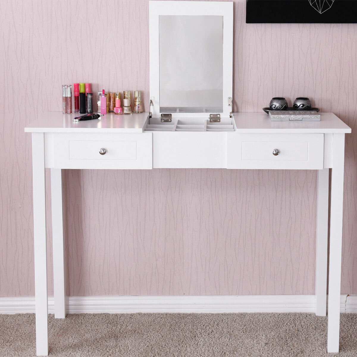 Marvelous Charlton Home Kaila Vanity With Mirror Reviews Wayfair Ncnpc Chair Design For Home Ncnpcorg