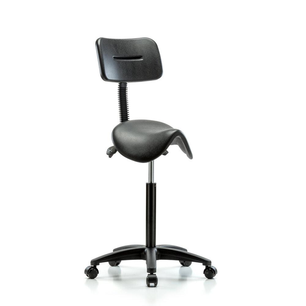Height Adjustable Saddle Stool With Back