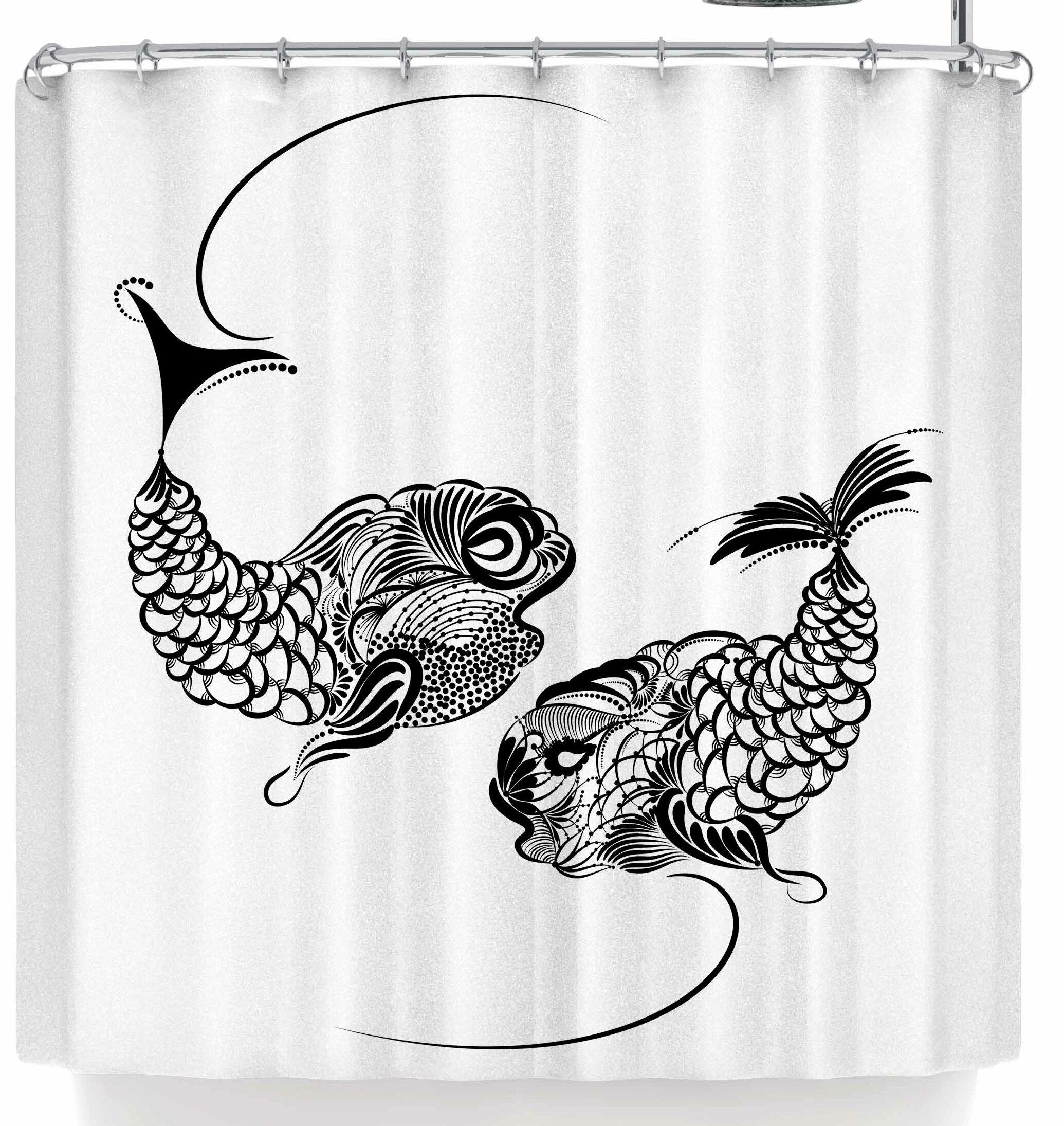 East Urban Home Maria Bazarova Fish Horoscope Zodiac Pisces Shower Curtain