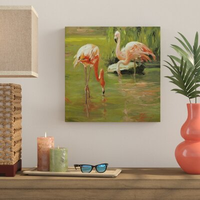 Bay Isle Home 'Flamingo II' Painting Print on Canvas Size: 18 H x 18 W x 0.75 D