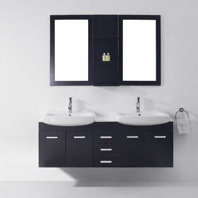"Ultra Modern Bathroom Vanities virtu usa ultra modern series 59"" double bathroom vanity set with"