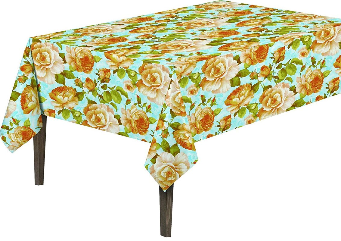 Berrnour Home Yellow Rose Vinyl Indoor/Outdoor Tablecloth & Reviews ...