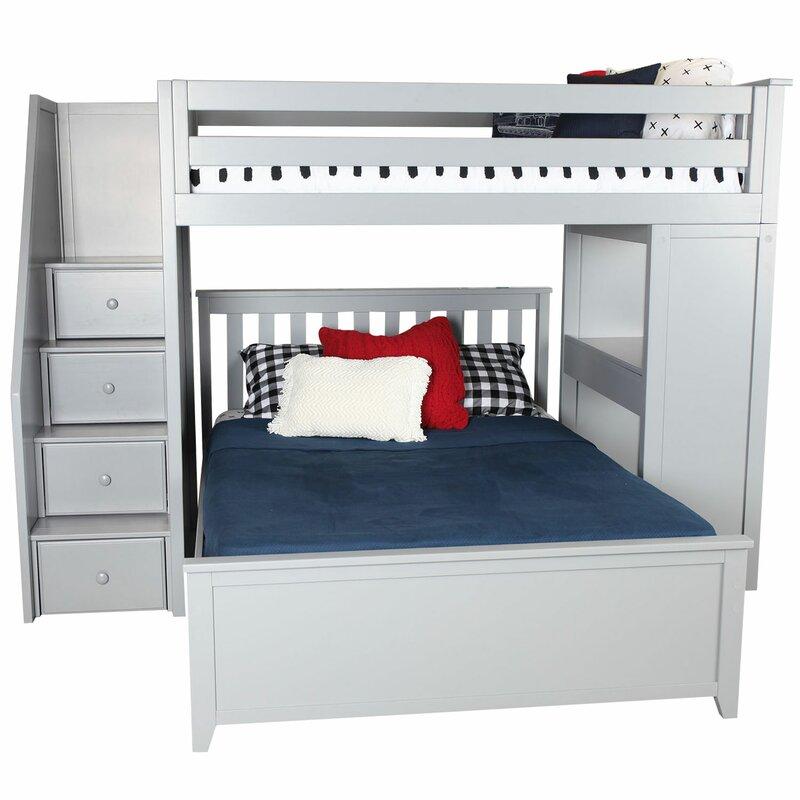 Zoomie Kids Alvarez Staircase Combo Twin Over Full Loft Bed | Wayfair