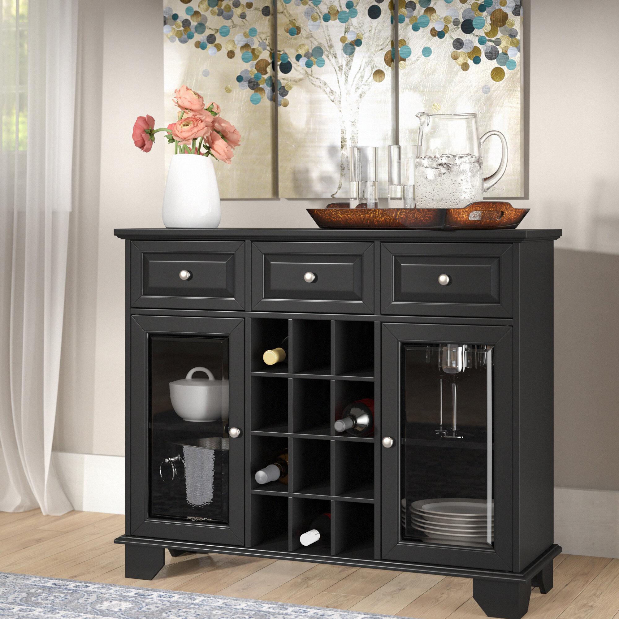 Ross Wood Server With 12 Bottle Floor Wine Cabinet
