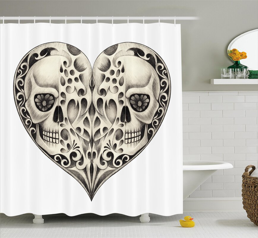 Tami Day Of The Dead Twin Half Fire Design Shower Curtain