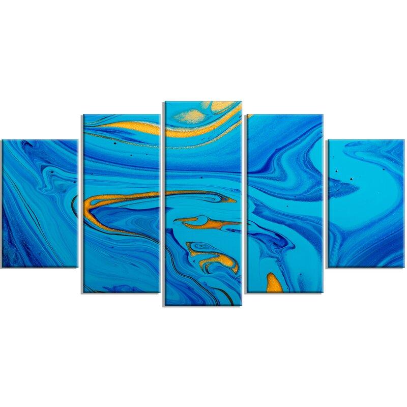 DesignArt \'Light Blue Abstract Acrylic Paint Mix\' 5 Piece Wall Art ...