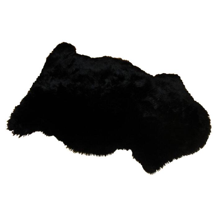 Long Wool Gold Star Sheepskin Black Rug