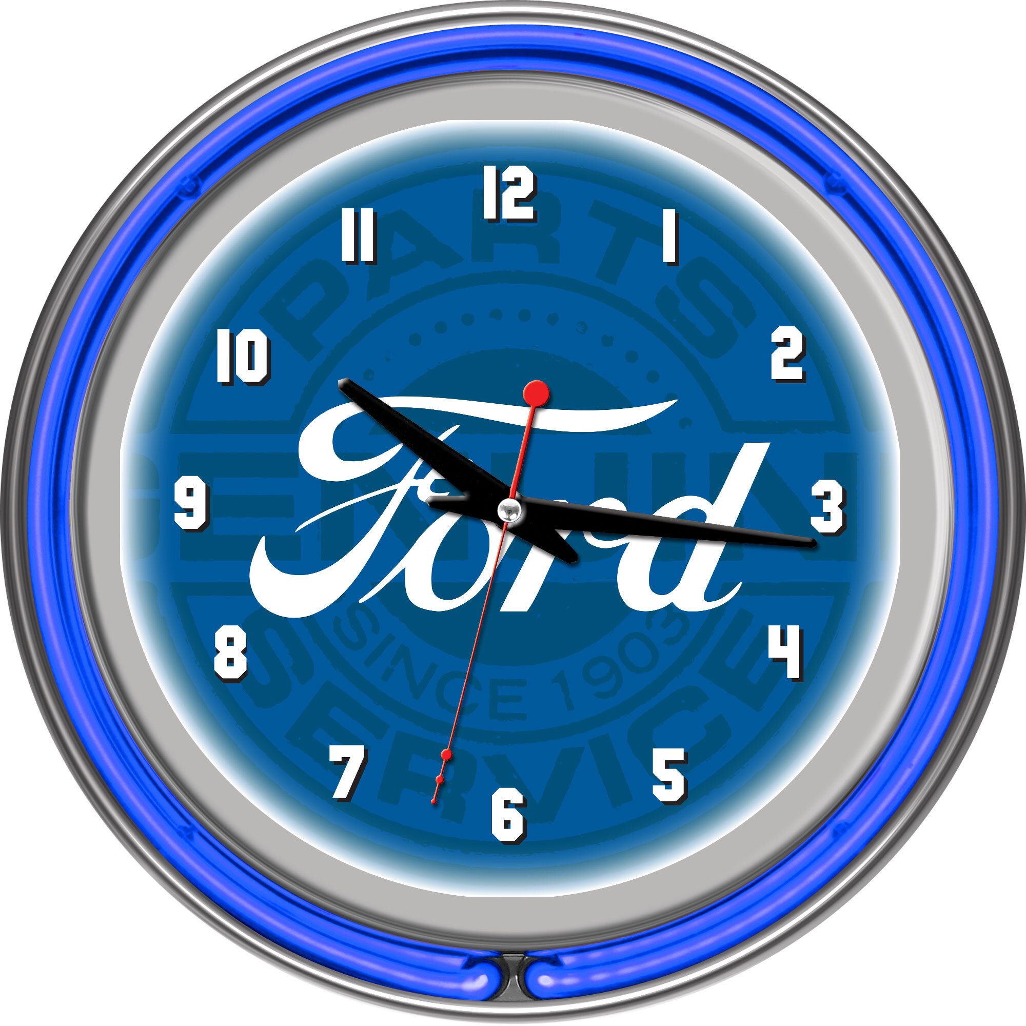Trademark Global Ford Genuine Parts 11 Double Rung Neon Wall Clock Wayfair