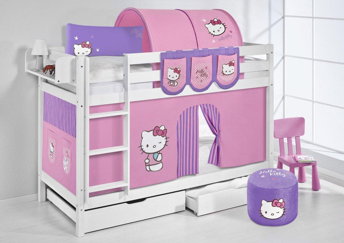 Lilokids etagenbett hello kitty mit vorhang 90 x 200 cm - Hello kitty babyzimmer ...