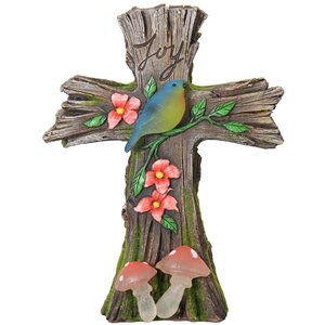 Solar Bird on Wooden Cross Statue