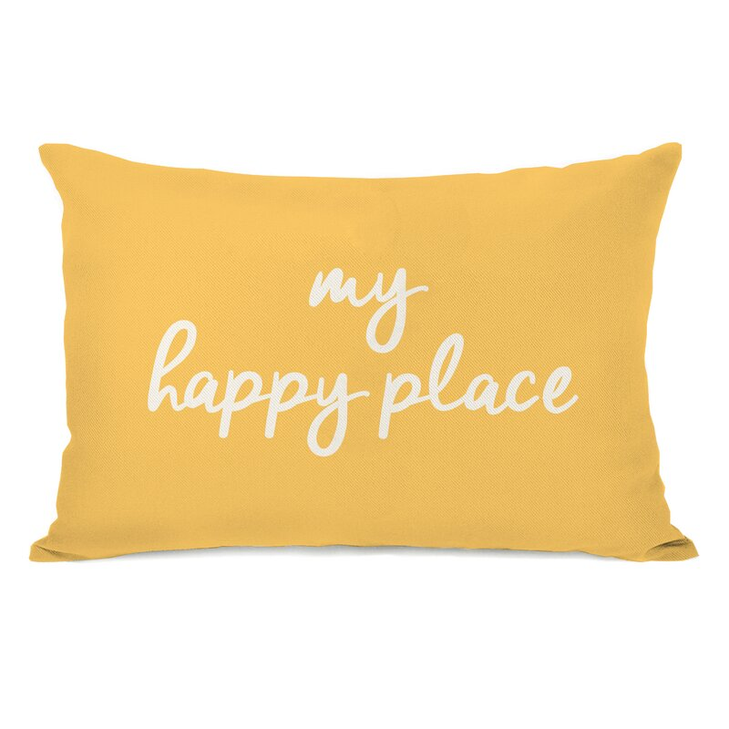 Ebern Designs Peltz My Happy Place Outdoor Lumbar Pillow ...