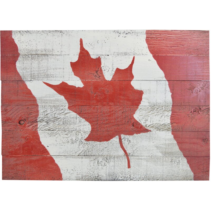 Firesidehome Canada Flag Painting Print On Manufactured Wood Wayfair