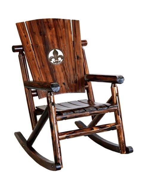 Char Log Fleur De Lis Medallion Single Rocking Chair II