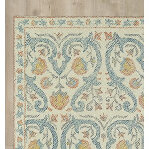 Carrillo Hand-Tufted Beige/Blue Area Rug