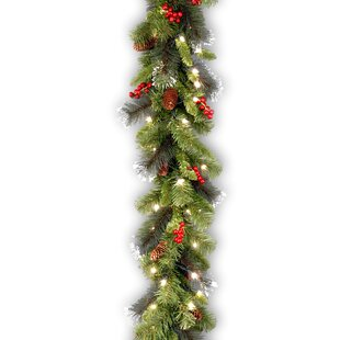 9 foot spruce pre lit faux garland with 50 clear lights