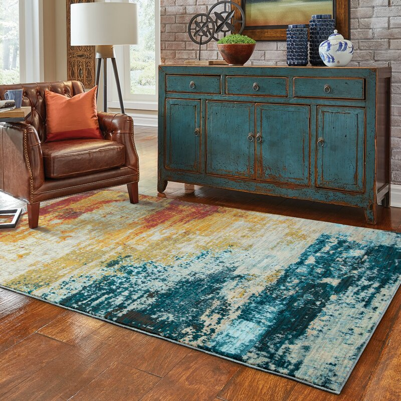 Trent Austin Design Haugan Abstract Blue Red Area Rug