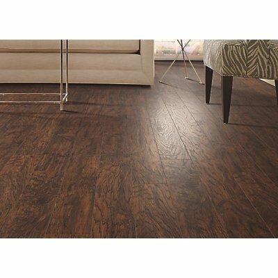 Hanbridge 5 25 X 47 11 93mm Hickory Laminate Flooring In Dark Brown