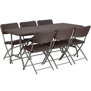 Rattan Plastic 67 5 Rectangular Folding Table With 6 Chairs