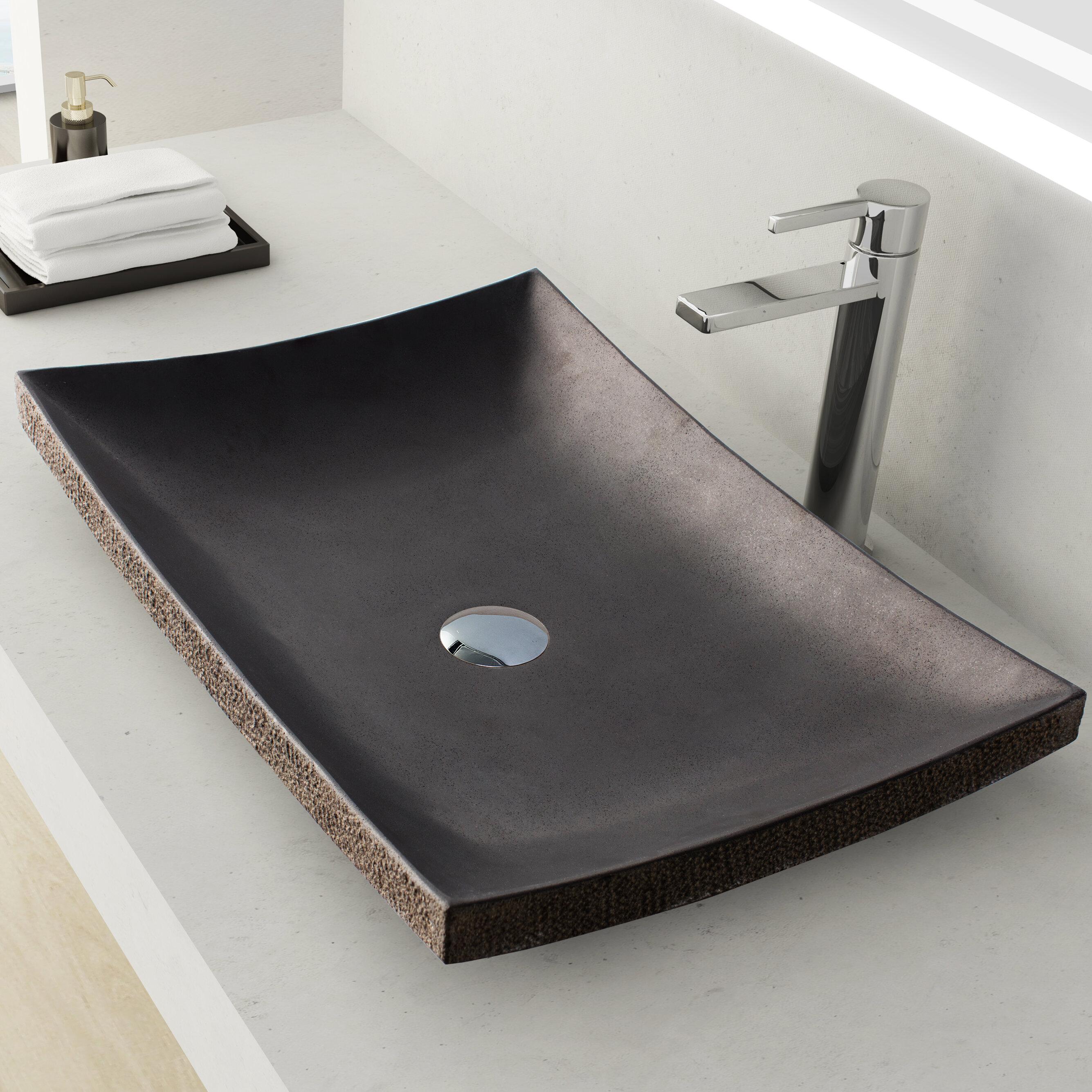 Maykke Payson Stone Rectangular Vessel Bathroom Sink | Wayfair