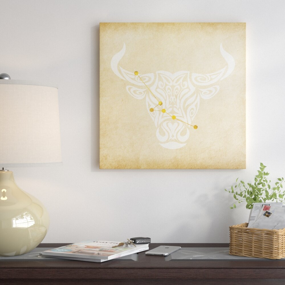 East Urban Home Reliable Bull With Constellation Graphic Art On Wred Canvas Wayfair Ca