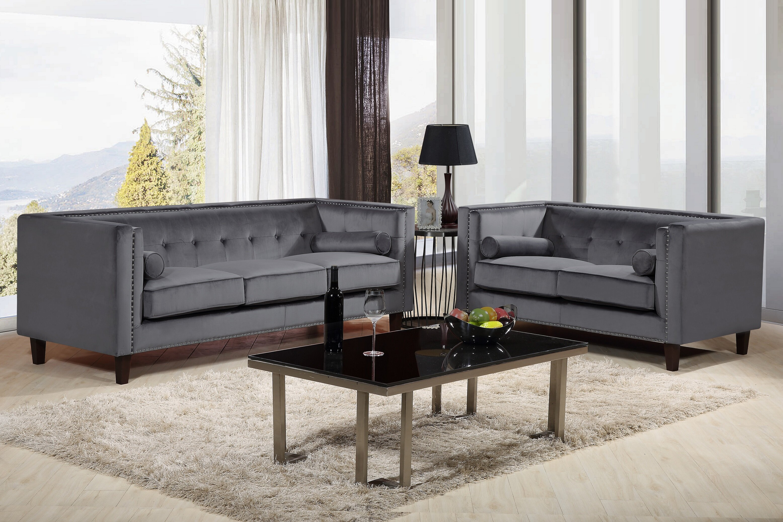 Everly quinn kittleson classic nailhead chesterfield 2 piece living room set reviews wayfair