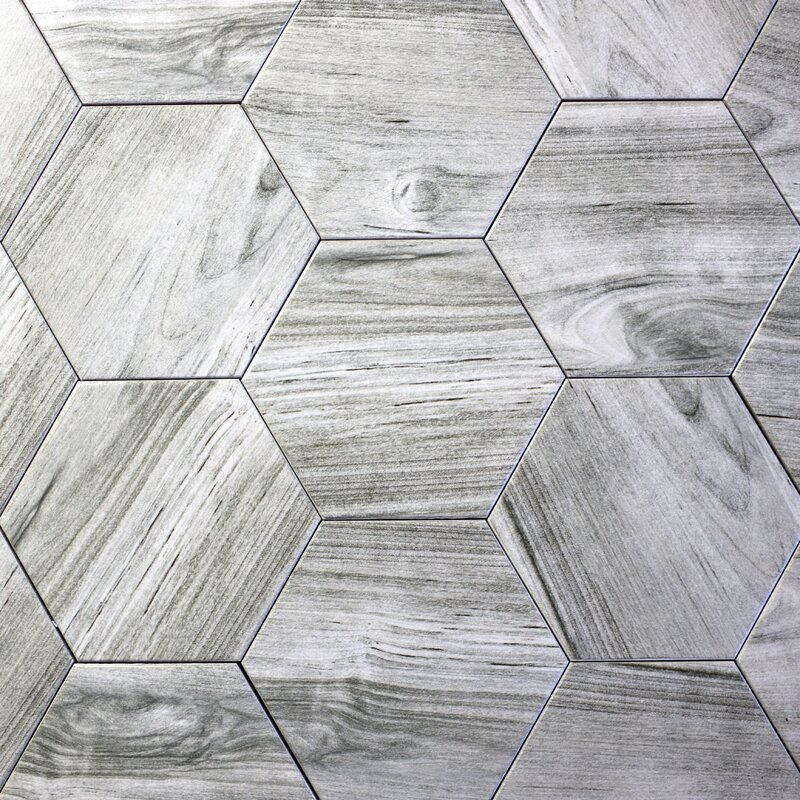 Abolos Artisan Wood Hexagon 8 X 8 Ceramic Wood Look Tile In Gray
