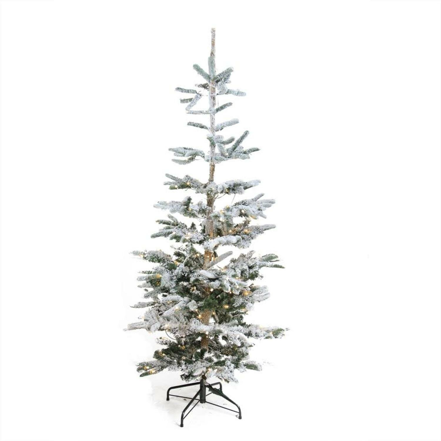 Loon Peak Pre-Lit Noble 6.5\' Fir Trees Green/White Artificial ...