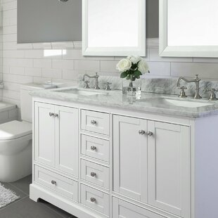 "72"" Bath Vanity Set with Italian Carrara White Marble Vanity Top"
