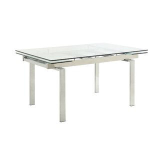 Tiedeman Metal and Glass Contemporary Extendable Dining Table