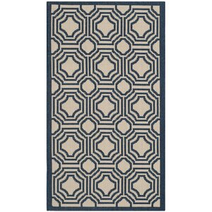 Poole Beige/Navy Indoor/Outdoor Rug