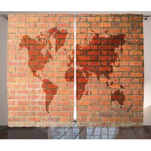 brick wall with world atlas map rustic home decor graphic print room darkening rod pocket curtain panels set of 2