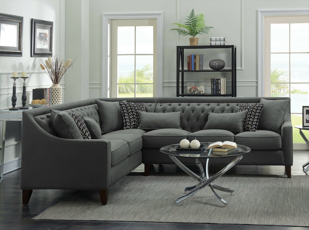 Zivah Solid L-Shaped Sectional : l shape sectional - Sectionals, Sofas & Couches