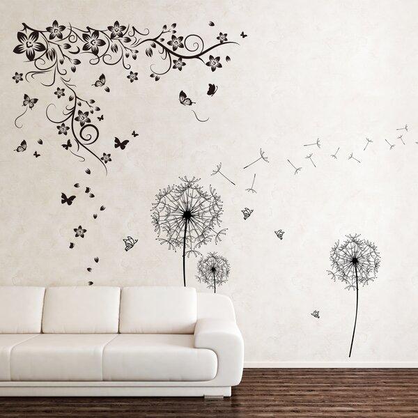 Walplus New Huge Butterfly Vine And Dandelion Wall Decal U0026 Reviews | Wayfair Part 35