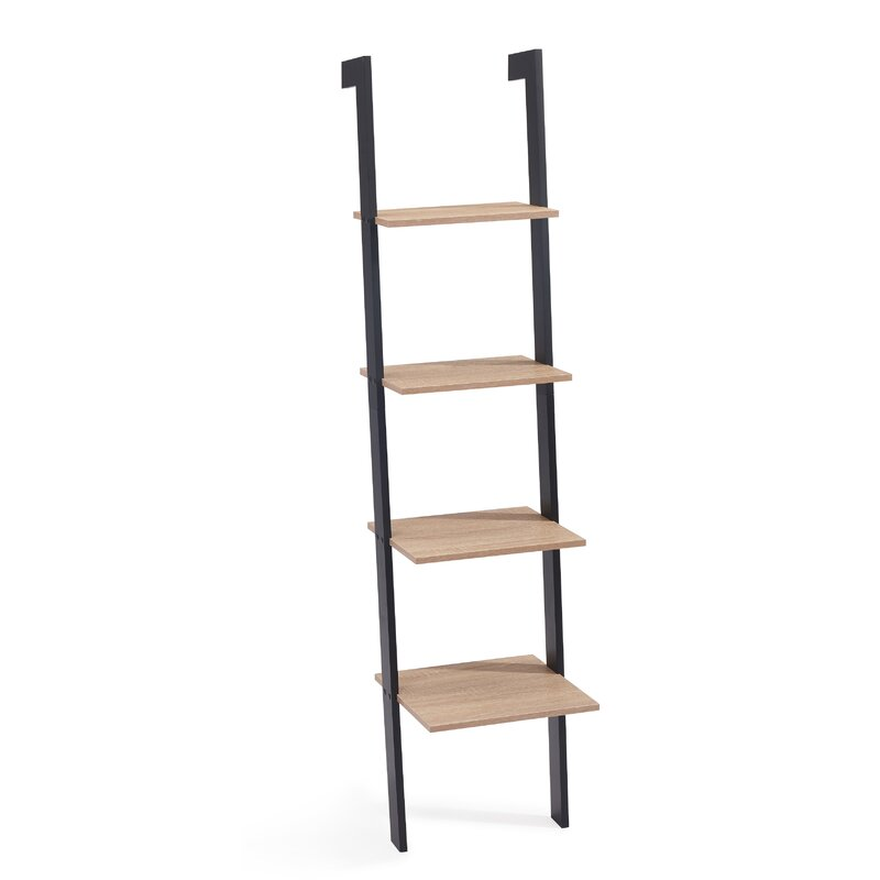 Xavier Weathered Oak Ladder Bookcase