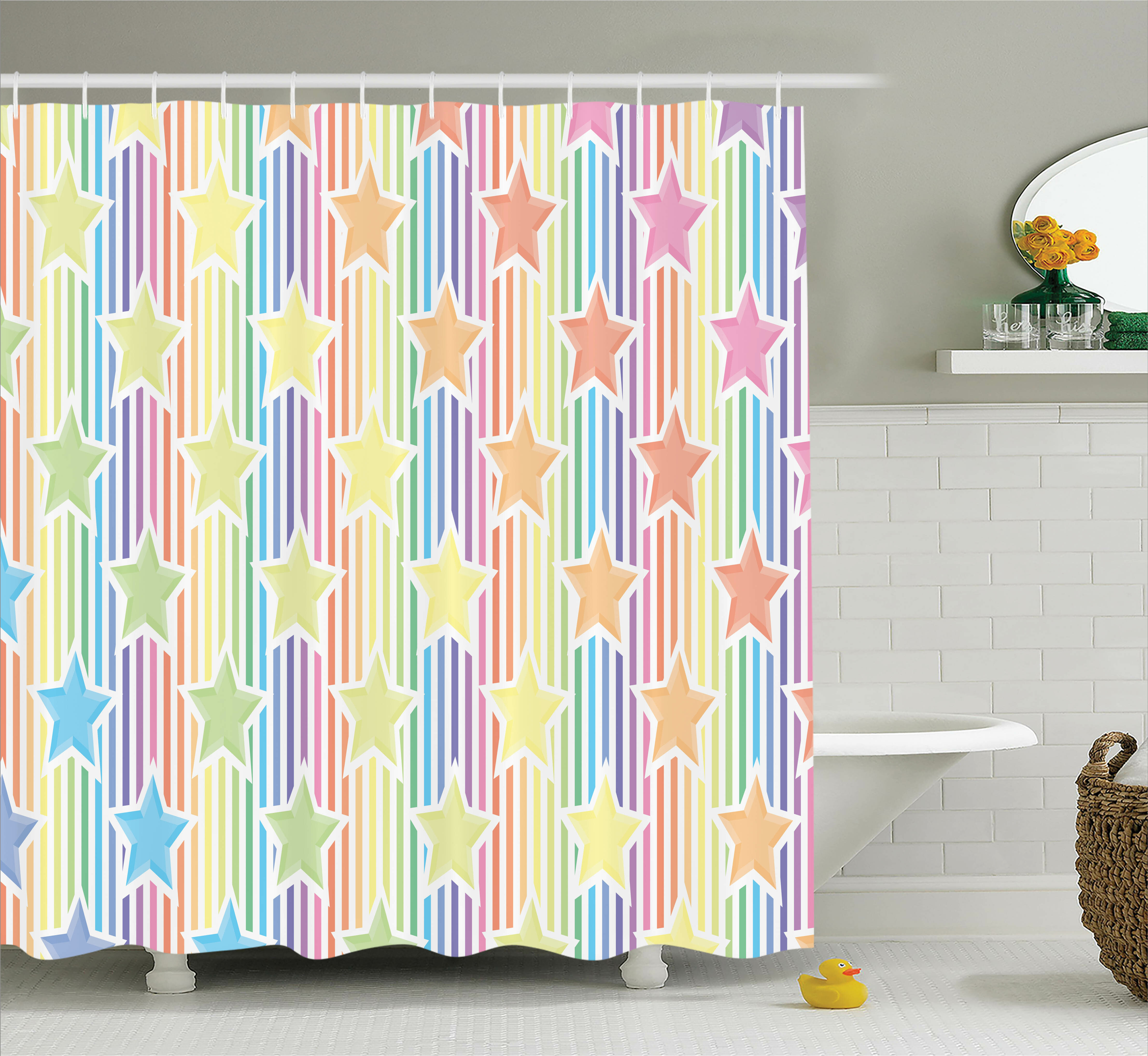 Ebern Designs Brenda Rainbow Stars On Colorful Striped Fun Art Abstract Teen Room Playroom Concept Shower Curtain