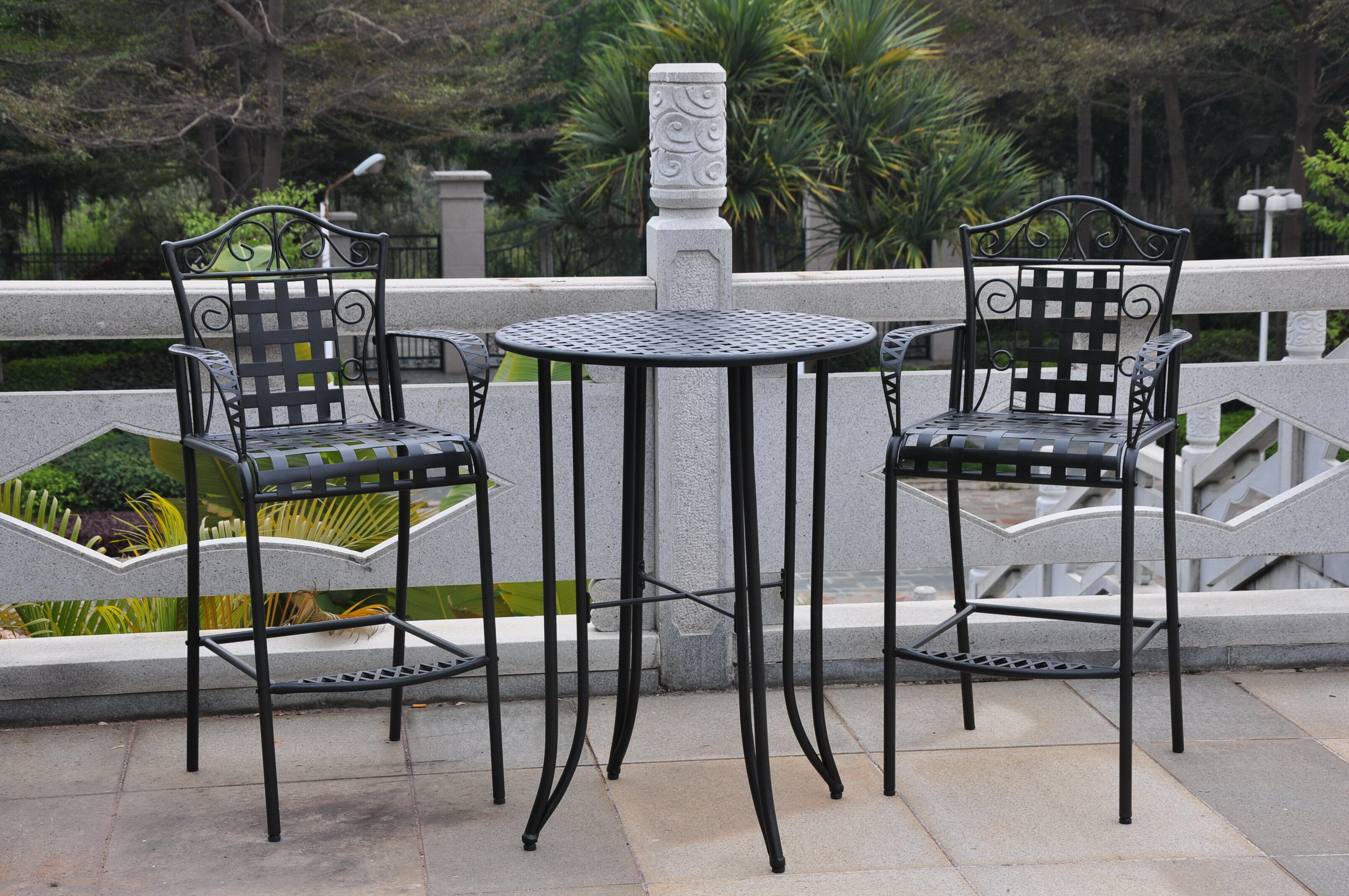 Three Posts Snowberry 3 Piece Wrought Iron Bar Height Bistro Patio