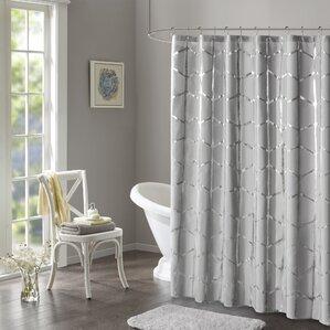 Mangesh Printed Metallic Shower Curtain