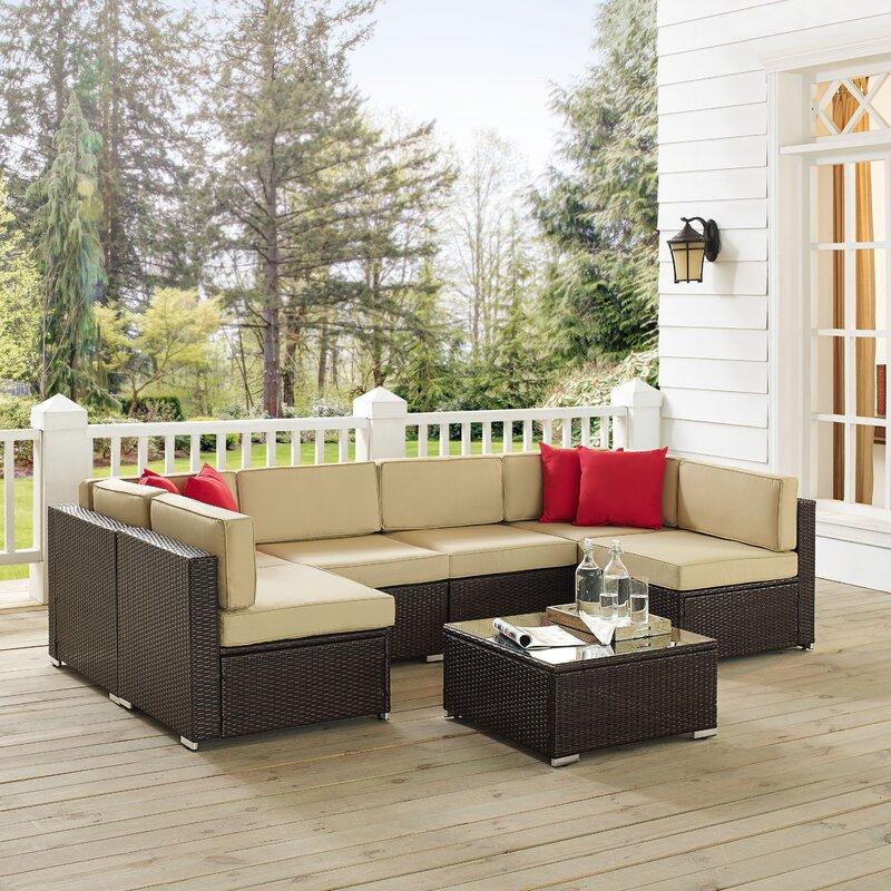 Kaczor 7 Piece Rattan Sectional Set With Cushions