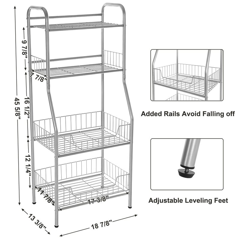 Songmics 4 Shelf Steel Wire Shelving Standing Storage Rack & Reviews ...