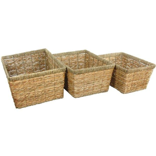 Oriental Furniture 3 Piece Hand Woven Storage Basket Set U0026 Reviews | Wayfair