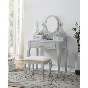 Silver Bedroom  Makeup Vanities Youll Love Wayfair - Mirrored makeup vanity set