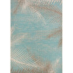Beachcrest Home Odilia Tropical Palms Turquoise/Gray/Ivory Indoor ...