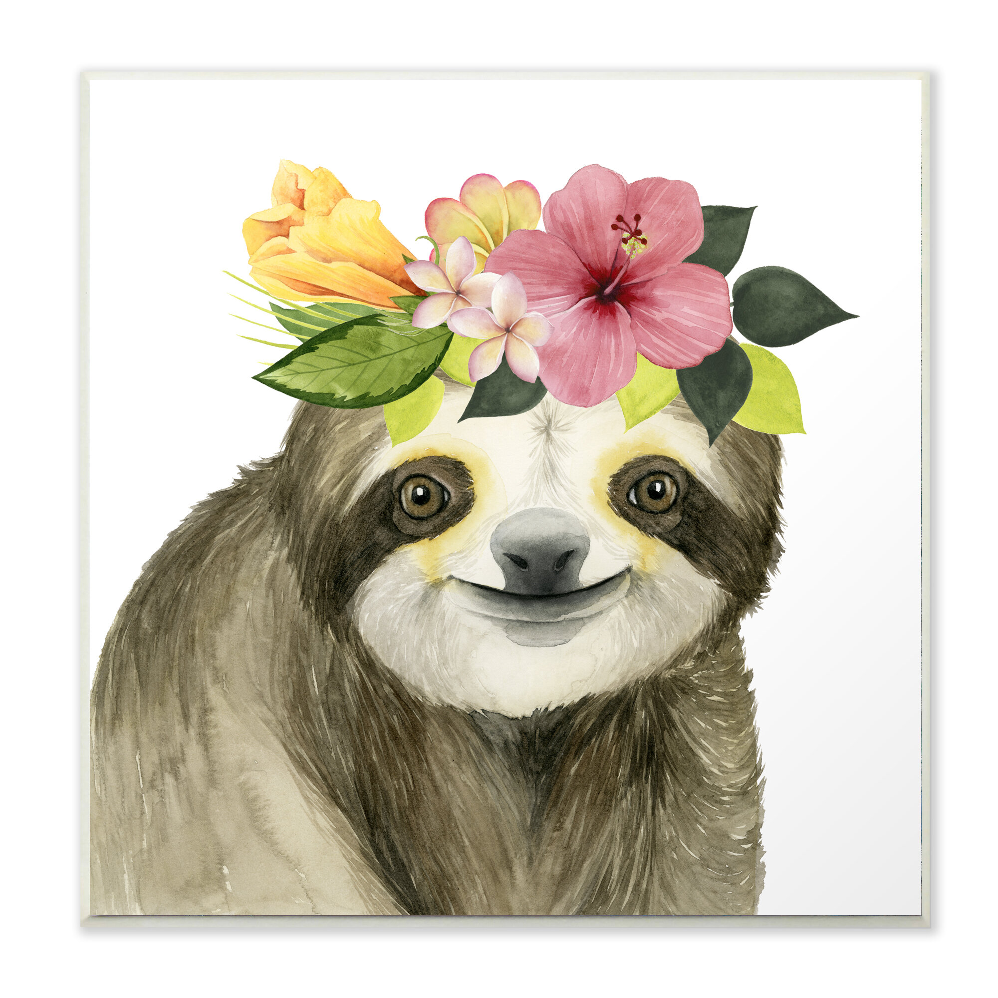 Harriet Bee Coachella Ready Sloth In Flower Crown Graphic Art