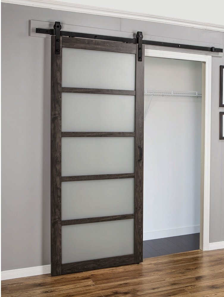 Erias Home Designs Sliding MDF/Glass Interior Barn Door With Hardware U0026  Reviews | Wayfair